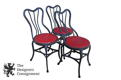 Antique American Industrial Folded Steel Ice Cream Parlor Druggist Chairs UHL