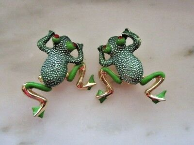 Pair of Gold Tone, Green Enamel & Red Rhinestone Dancing Frog Pings or Brooches