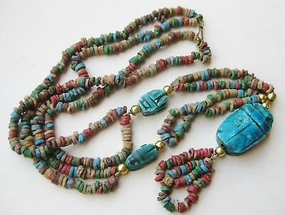 Vintage Egyptian Faience Beaded Ceramic Scarab Beetle Cleopatra Pendant Necklace