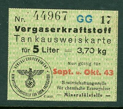 Poland WWII - Nazi - GG Premium coupon for 5 Litre of Gasoline