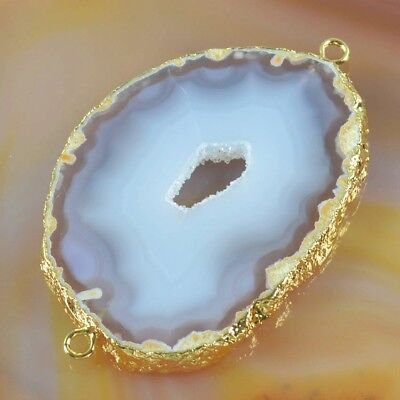 Natural Agate Druzy Geode Slice Connector Gold Plated T050555