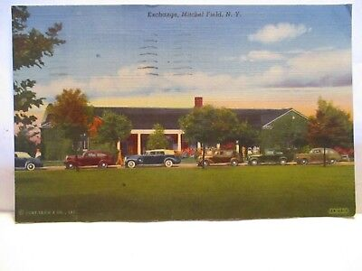 """Wwii Postcard """" Exchange, Mitchell Field Ny """" Soldier Posted Helmstead Ny"""