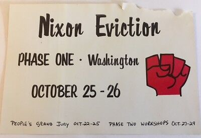 """3 1/2 by 5"""" Nixon Eviction People's Grand Jury October 25-26th Political Sticker"""