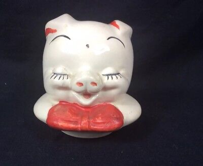 Vintage American Bisque Pig Cookie Jar Lid Only Figural Head Pig