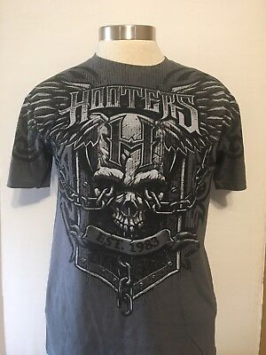 0bd301d8 HOOTERS T-SHIRT NEW (M) Gray color with Black - Angel/Devil Owls ...