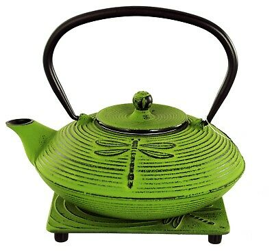 Buckingham Dragonfly Japanese Cast Iron Teapot Kettle Tea Pot 800 ml Trivet Set