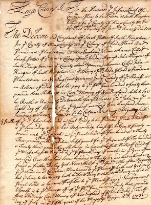 1731, South Kingston, Rhode Island, Joseph Sheffield signed petition for suit