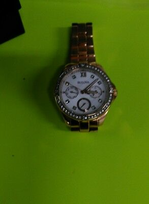 Bulova Womens Rose Gold Tone Stainless Watch 98N108