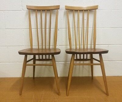 Vintage Ercol Beech & Elm Dining Chairs Model 608. x 2. Retro.Original Labels