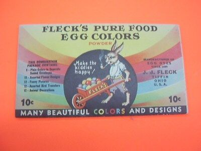 Vintage Fleck's Pure Food Egg Colors Easter Egg Dye  UNOPENED!