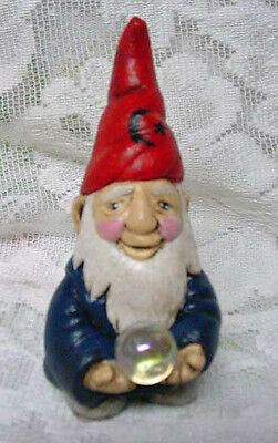 New Hand Painted 4 Inch Blue & Red Wizard Figurine With Crystal Ball - Gnome