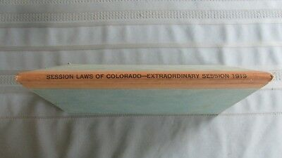 1919 Colorado State Laws Passed At Extraordianry Session Book-WW I & Suffrage