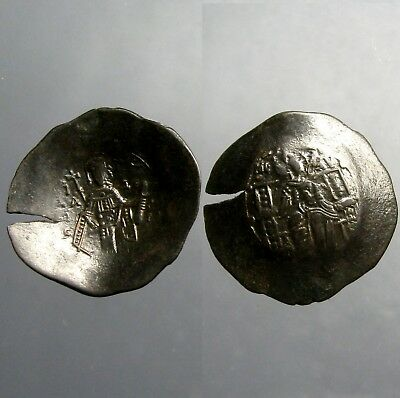 ISAAC II ANGELUS ASPRON TRACHY__1185 AD___Enthroned Virgin Holding Infant Christ
