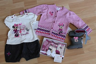 Girls Disney Store Sz 12-18 Months Romper, Boots, Socks, Sweater Minnie Mouse
