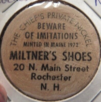 Vintage Miltner's Shoes Rochester, NH Wooden Nickel - Token New Hampshire