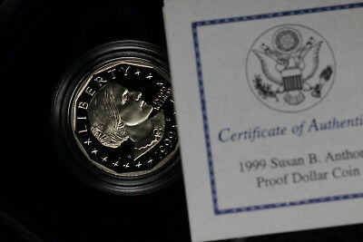 1999-P Susan B. Anthony Proof Dollar Coin - In Mint Box and COA