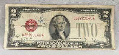 1928-G $2 UNITED STATES Legal Tender RED SEAL Note! NO RESERVE!