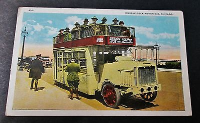 DOUBLE DECK MOTOR BUS Chicago Unused Tinted RPPC