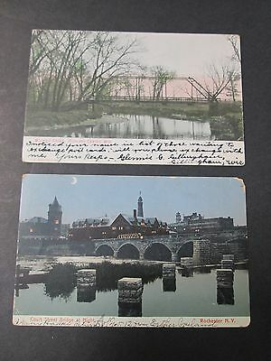 Early 1900s Bridges 2 Postcards Postmarked 1905 and 1907