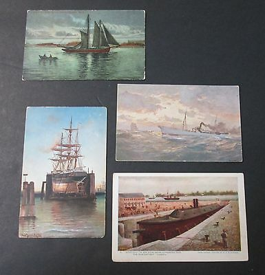 Paintings of Ships 4 Postcards All Unused