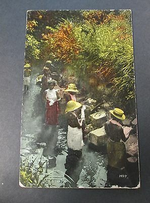 Native Women Washing Clothes in a River in Panama Tinted RPPC Unused