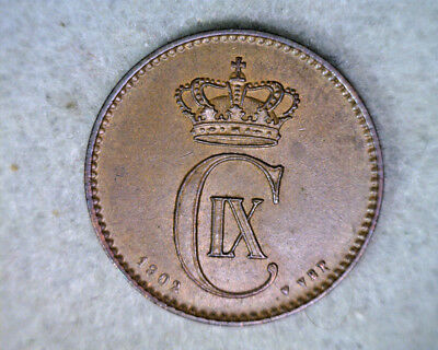 DENMARK 2 ORE 1902 ABOUT UNCIRCULATED   ( stock# 279)
