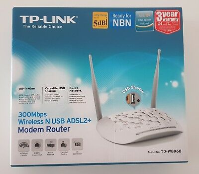 TP-Link TD-W8968 Wireless N300 ADSL2+ Modem Router with USB Port BRAND NEW