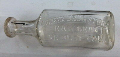 Antique Pioneer Drug Store GRIDLEY Cal  R A NORMAN  Medicine Bottle