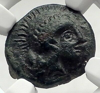 Athl / Atl / AΘA Mint in SICILY 340BC Athena Rare Ancient Greek Coin NGC i72733