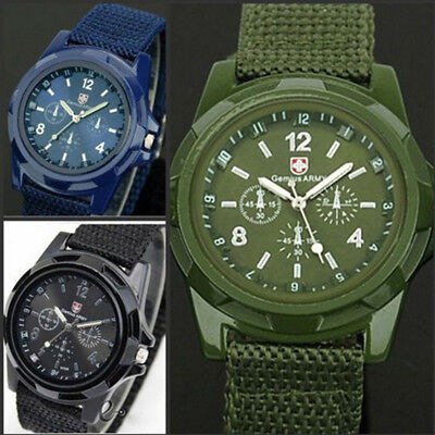 Men Swiss Army Watch Classic Design Quartz Fashion Wrist Watch Black Nylon Band