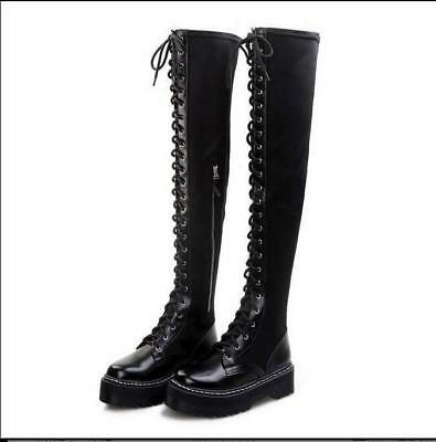 Round Toe Women Knight Stretchy Leather Over Knee Thigh Boot Lace Up Punk Shoe G