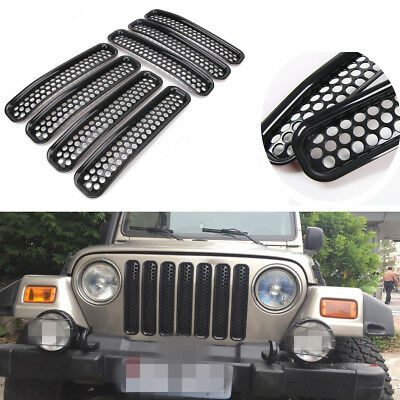 7pcs Black Mesh Front Grill Grille Inserts For 97-06 Jeep Wrangler TJ Unlimited