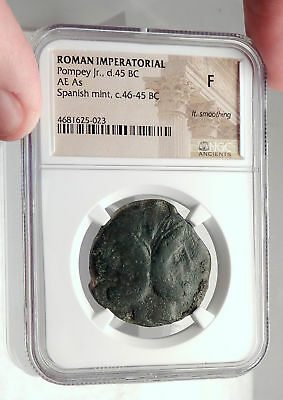 GNAEUS POMPEY the GREAT Son JULIUS CAESAR Enemy Ancient Roman Coin NGC i72744
