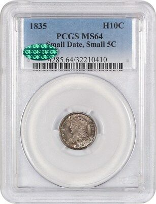 1835 H10c PCGS/CAC MS64 (Small Date, Small 5C) Nice Type Coin - Early Half Dimes