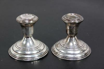 """Vintage Sterling Silver Weighted Bottom Candle Holders 3"""" Reed and Barton"""
