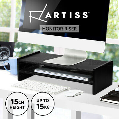 Artiss Monitor Riser Computer Laptop LED Stand 2 Shelves Desk Top 54cm x 23.5cm