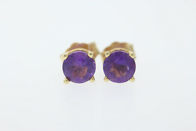 14k Yellow Gold .90ct Round Amethyst Stud Earrings 5mm