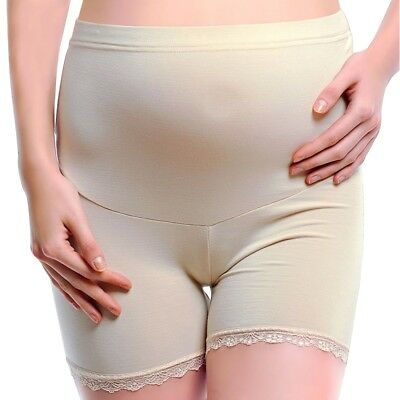 Women's Cotton Shorts Maternity Short Pants Elastic Belly Band Stretch Over Bump