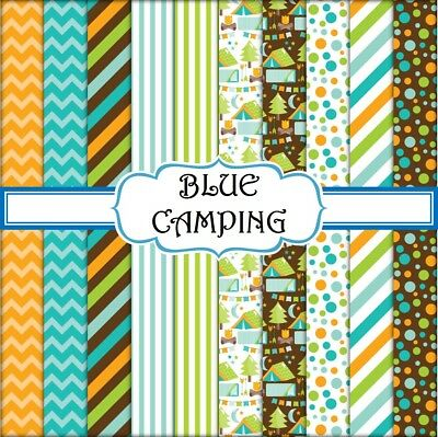 BLUE CAMPING SCRAPBOOK PAPER - 10 x A4 pages