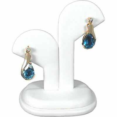 """White Faux Leather Earring Jewelry Display Stand 2 1/4"""" x 2 15/16"""""""