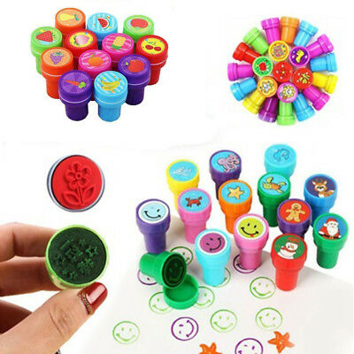 10Pcs Assorted Cartoon Self Ink Stamps Birthday Party Favors School Kids Prizes