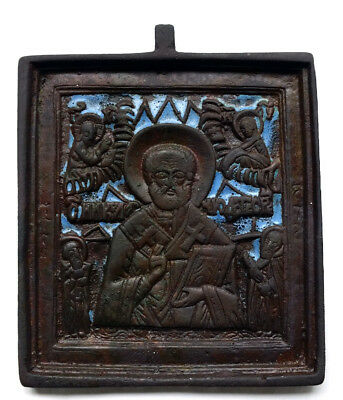 Authentic Old Antique 18th century Russian Orthodox Brass  Icon