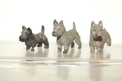 AW19 Antique Wooden Black Forest 3 Miniature Highland Terriers Largest 35mm long