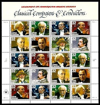 1997- COMPOSERS & CONDUCTORS - #3158-65 Full MNH Sheet of 20 Postage Stamps