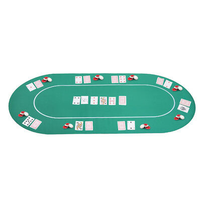 "71""x36"" 8 Player Oval Non-Slip  Poker Table Top Mat Card Game Layout Rubber w/"