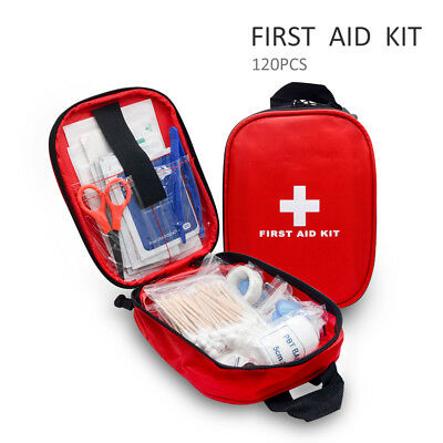 120 Piece First 1St Aid Kit Medical Emergency Travel Home Car Taxi Work Red Bag