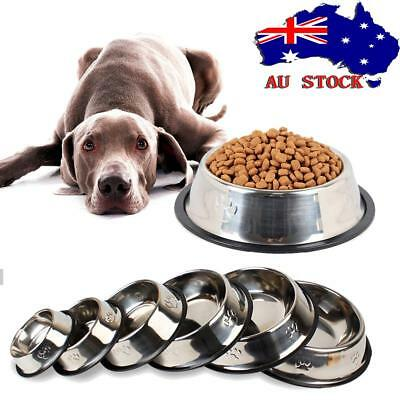 Pets Small Dog Puppy Anti Skid Stainless Steel Feeding Food Drink Bowl Plate AU!