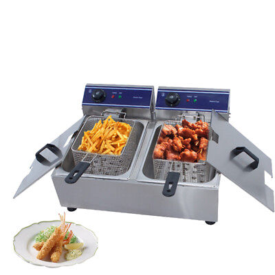 Commercial Stainless Steel  Electric Deep Fryers Twin Fat Chip Fryer Double Tank