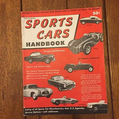 1953-54  edition SPORTS  CARS  HANDBOOK by edward a campbell/FENWICK PUBLISHING