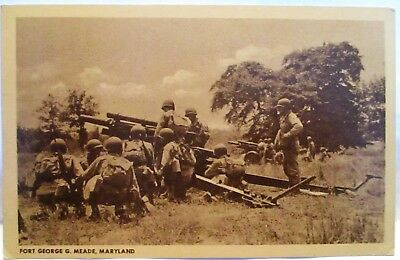 Wwii Postcard Fort George C Mead Md, Soldiers And Heavy Artillery